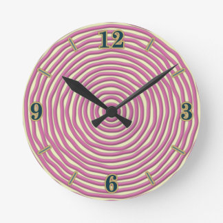Baby Pink Hand Drawn Circles Round Clock