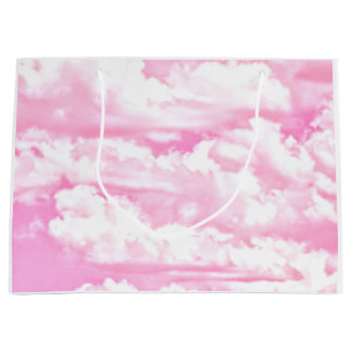 Baby Pink Happy Clouds Backgrouund Large Gift Bag
