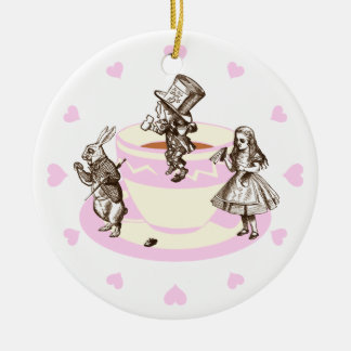 Baby Pink Hearts Around a Mad Tea Party Ceramic Ornament
