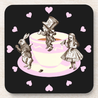 Baby Pink Hearts Around a Mad Tea Party Drink Coaster