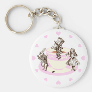 Baby Pink Hearts Around a Mad Tea Party Keychain