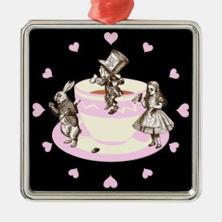 Baby Pink Hearts Around a Mad Tea Party Metal Ornament