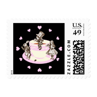 Baby Pink Hearts Around a Mad Tea Party Postage