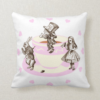 Baby Pink Hearts Around a Mad Tea Party Throw Pillow