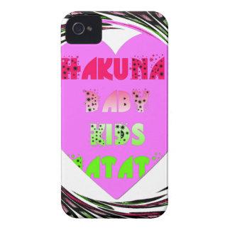 Baby Pink  Hearts Hakuna Matata Baby Kids Design.p Case-Mate iPhone 4 Cases