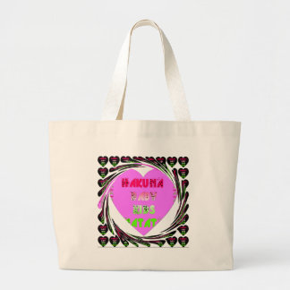 Baby Pink  Hearts Hakuna Matata Baby Kids Design.p Large Tote Bag