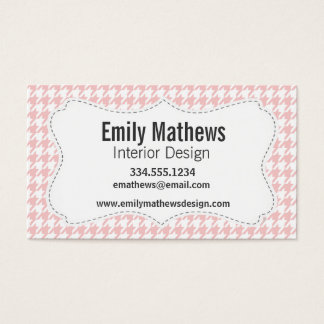 Baby Pink Houndstooth Business Card