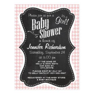 Baby Pink Houndstooth; Retro Chalkboard look Postcard