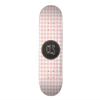 Baby Pink Houndstooth; Retro Chalkboard look Skateboard
