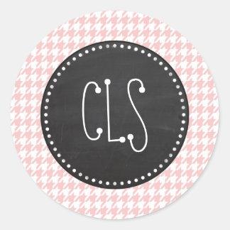 Baby Pink Houndstooth; Retro Chalkboard look Classic Round Sticker