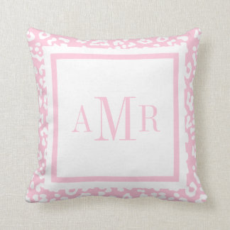 Baby Pink Leopard Print Monogram Initials Pillow
