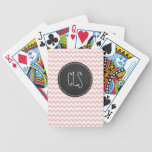 Baby Pink, Light Pink Chevron Stripes; Chalk Bicycle Playing Cards
