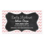 Baby Pink, Light Pink Chevron Stripes; Chalk Business Card Templates