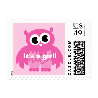 Baby pink owl postage stamps | It's a girl!