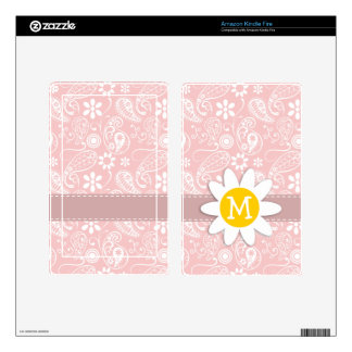 Baby Pink Paisley Daisy Skins For Kindle Fire