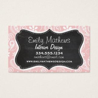 Baby Pink Paisley; Vintage Chalkboard look Business Card