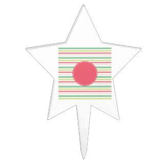 Baby Pink Pastel Mint Green Blue Stripes Circle Cake Pick