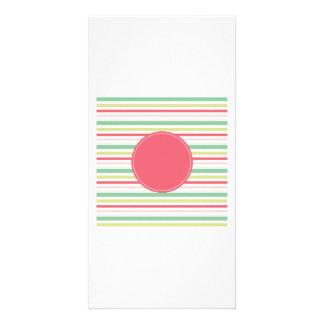 Baby Pink Pastel Mint Green Blue Stripes Circle Custom Photo Card