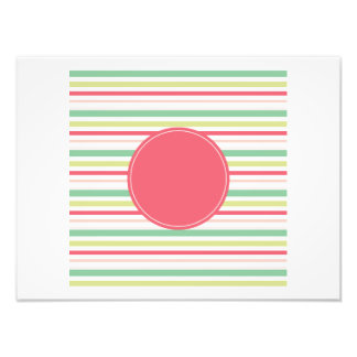 Baby Pink Pastel Mint Green Blue Stripes Circle Photo Art