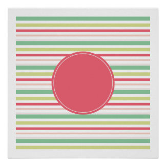 Baby Pink Pastel Mint Green Blue Stripes Circle Poster
