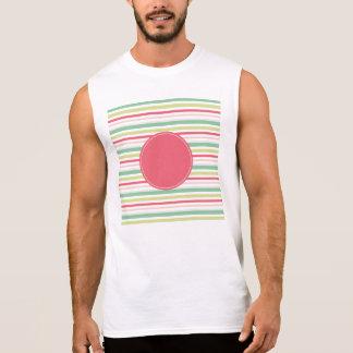Baby Pink Pastel Mint Green Blue Stripes Circle Sleeveless Shirt