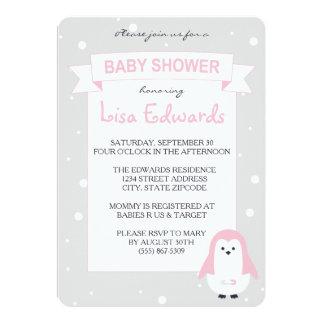 Baby Pink Penguin Baby Shower Invitation