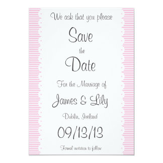 Baby Pink Pinstripes Save The Date Notice Card