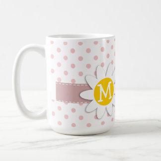 Baby Pink Polka Dots; Daisy Coffee Mugs