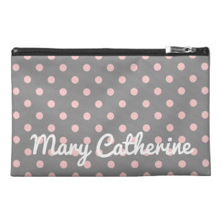 Baby Pink Polka Dots on Dove Grey Personalized Travel Accessory Bag
