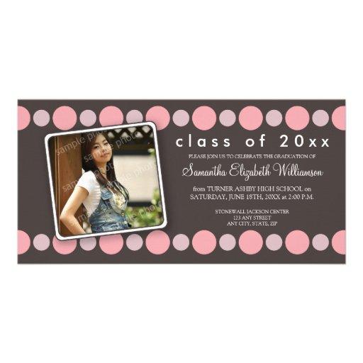 Baby Pink Polkadots Custom Graduation Announcement