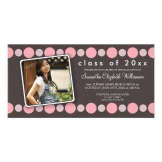 Baby Pink Polkadots Custom Graduation Announcement Photo Card