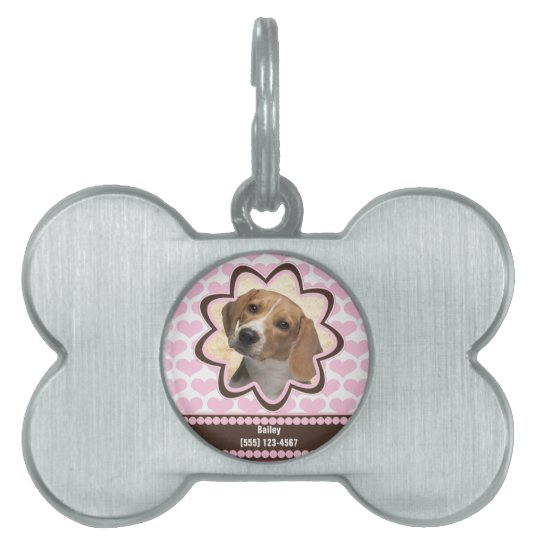 Baby Pink Puppy Hearts Custom Photo with Name Pet Name Tag