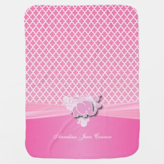 Baby Pink Quatrefoil Designs with Baby Elephant Receiving Blanket