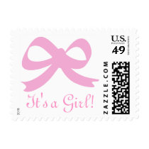 Baby pink ribbon bow postage stamps | It's a girl!