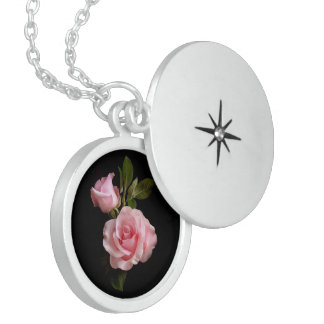 Baby Pink Rose,Medium Sterling Silver Round Locket