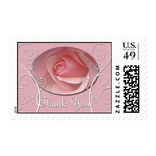 Baby pink Rose Thank you Postage