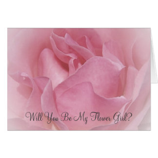 Baby Pink Rose Will You Be My Flower Girl Request Card
