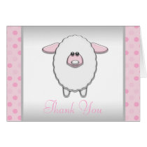 Baby Pink Sheep Thank You Cards