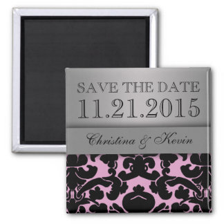 Baby Pink & Silver Luscious Damask Save the Date 2 Inch Square Magnet