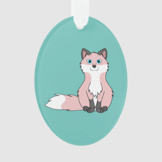 Baby Pink Sitting Fox Kit with Dark Markings Ornament