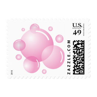 Baby pink soap bubbles postage stamps