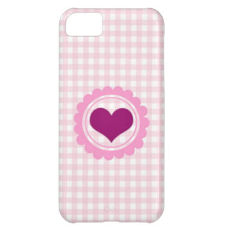 Baby Pink Squared heart design Cover For iPhone 5C