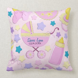 Baby Pink Stars and Carriage Keepsake Pillow