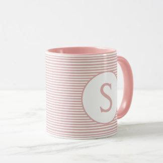 Baby Pink Stripe Monogram Mug