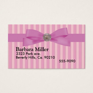 Baby Pink Stripes Elegance Anytime Business Card