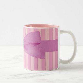 Baby Pink Stripes Elegance Coffee Two-Tone Coffee Mug