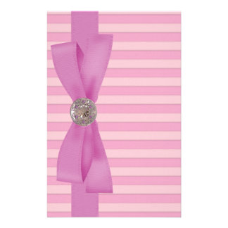 Baby Pink Stripes Elegance Paper Stationery