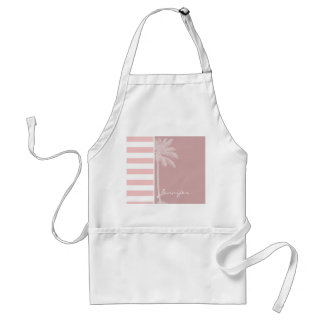 Baby Pink Stripes; Palm Adult Apron