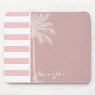 Baby Pink Stripes; Palm Mouse Pad