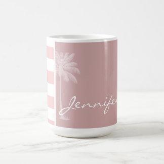 Baby Pink Stripes; Palm Coffee Mugs